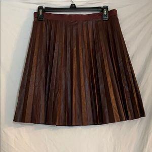 J.Crew Dark Red Pleated Leather Skirt
